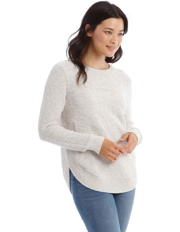 Fancy Knit Front Curved Hem Long Sleeve Jumper image 2