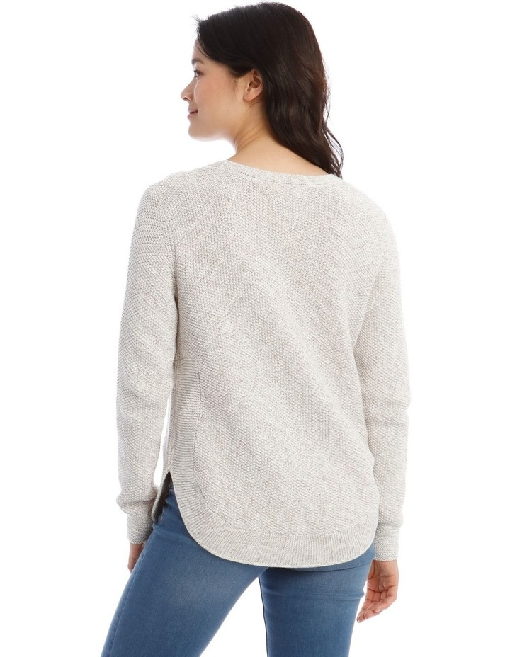Fancy Knit Front Curved Hem Long Sleeve Jumper image 3