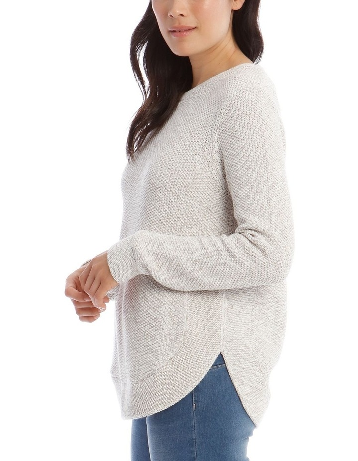 Fancy Knit Front Curved Hem Long Sleeve Jumper image 4