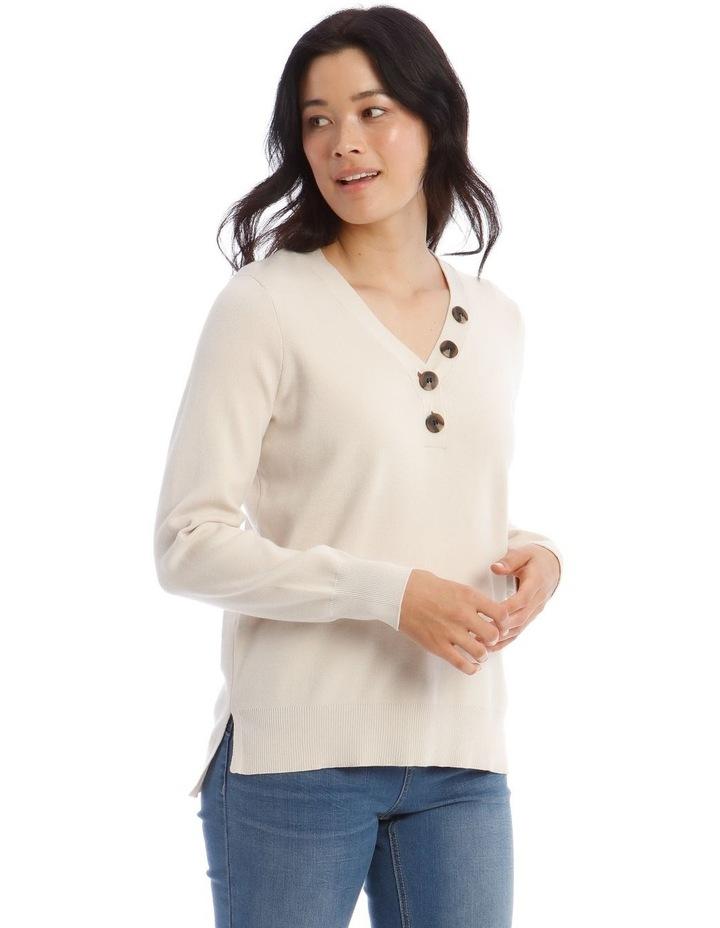 V-Button Neck Long Sleeve Jumper image 2