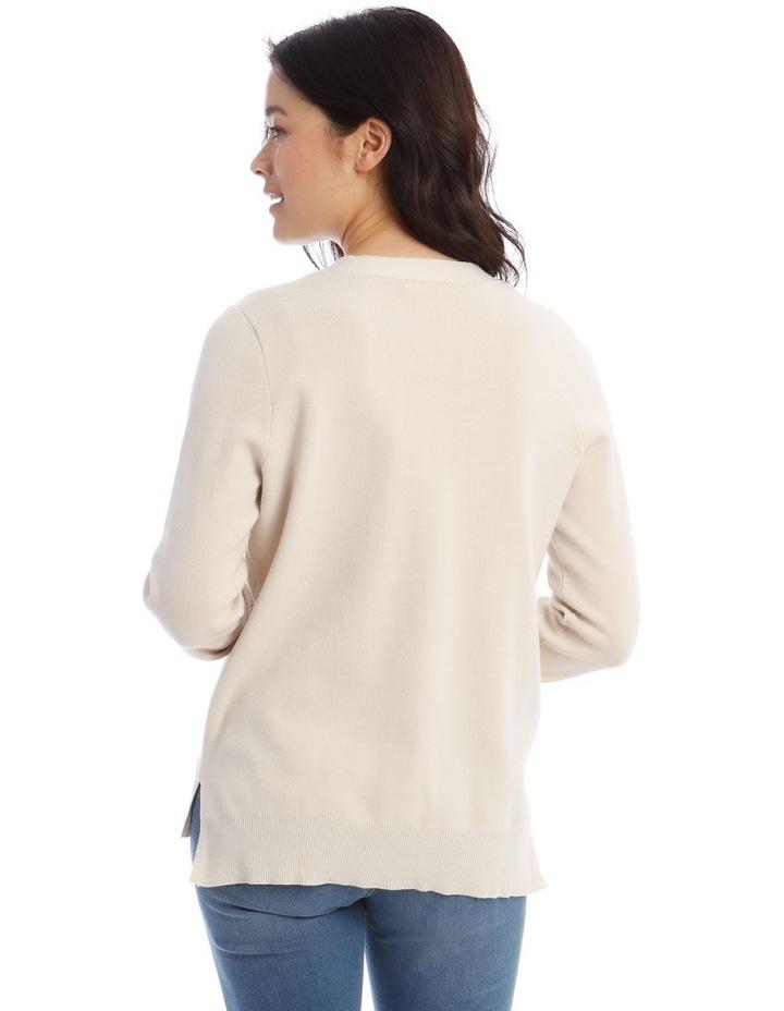 V-Button Neck Long Sleeve Jumper image 3
