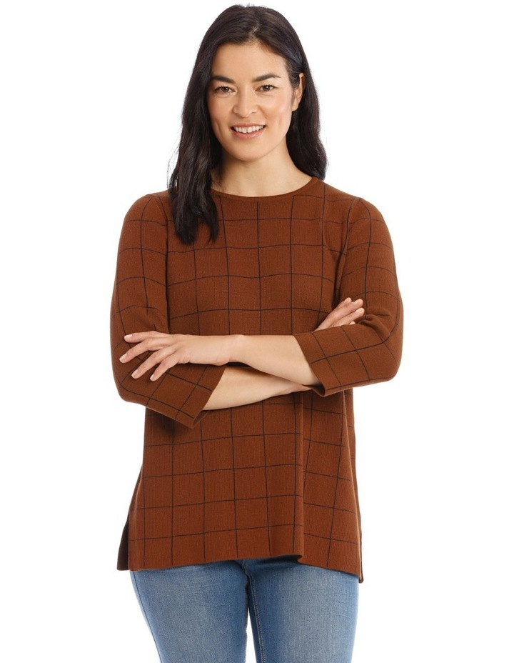 Check 3/4 Sleeve Tunic Jumper With Side Splits image 1