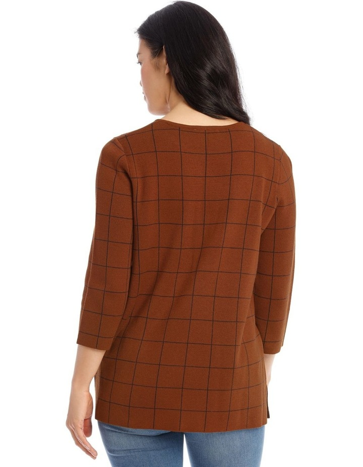 Check 3/4 Sleeve Tunic Jumper With Side Splits image 3