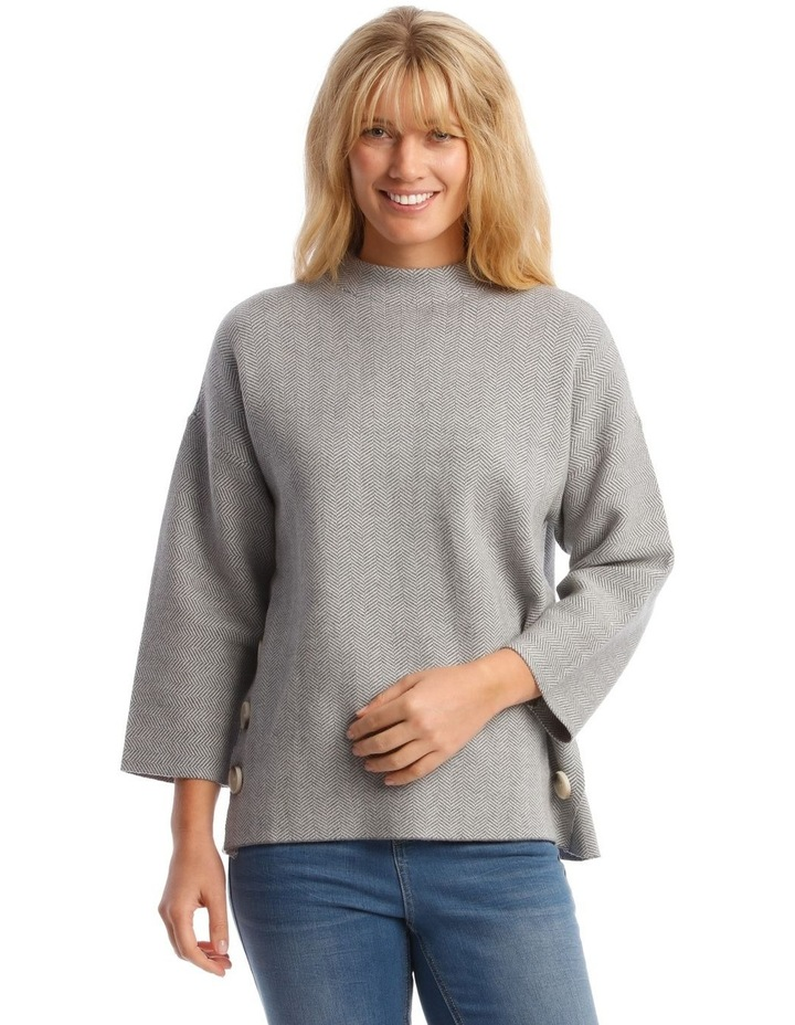 Button Side Stand Collar Long Sleeve Jumper image 1
