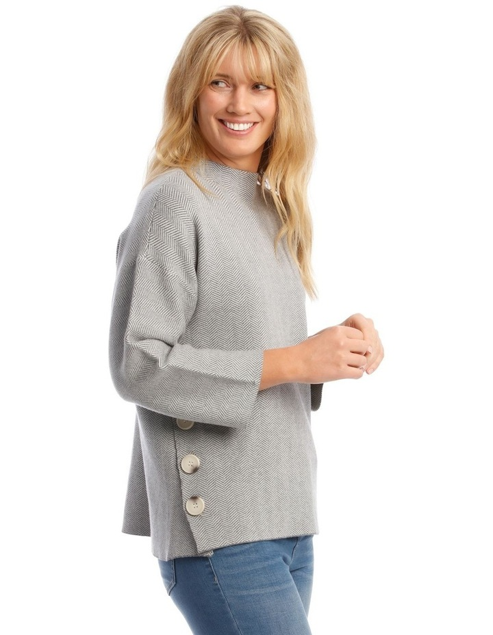 Button Side Stand Collar Long Sleeve Jumper image 2