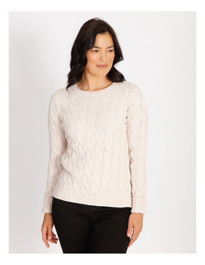 Ochre Dawn Cable Knit Hi/Lo Hem Jumper image 1