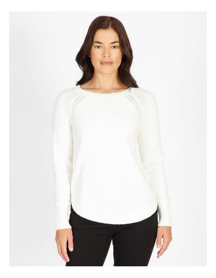 Curved Hem Jumper With Pointelle At Armhole image 1