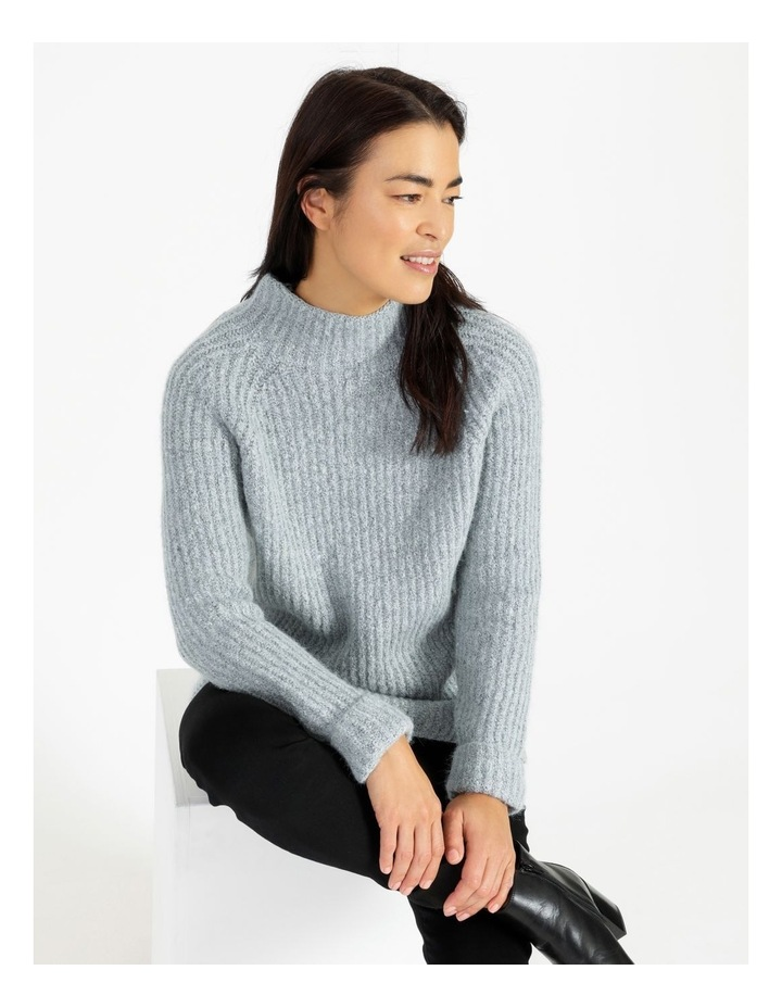 Mottled Marble Raglan Sleeve Stand Neck Jumper With Cuffs image 4