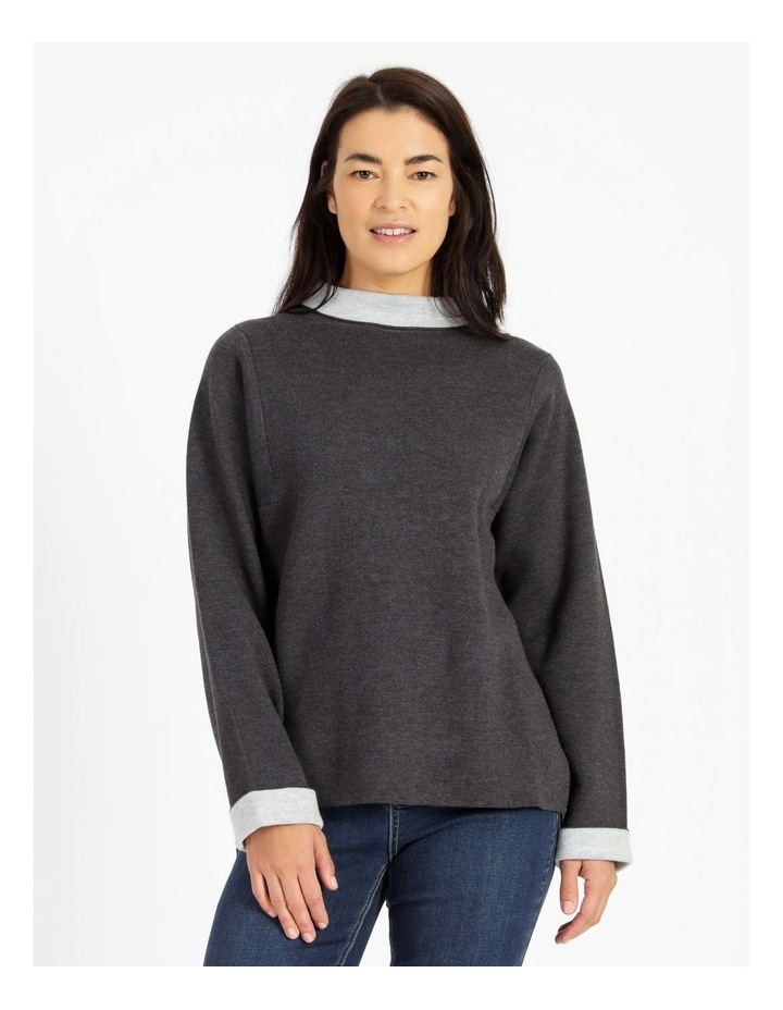 Fold Neck Double Knit Jumper With Square Armholes image 1