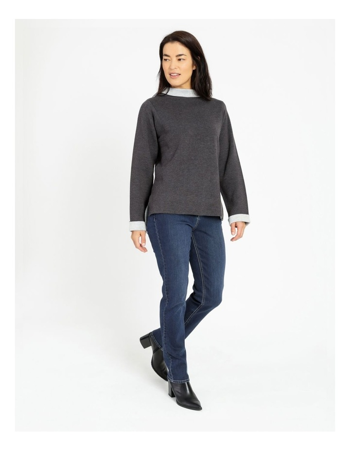 Fold Neck Double Knit Jumper With Square Armholes image 2