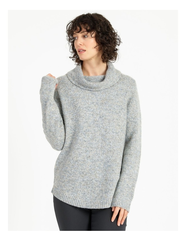Cowl Neck Long Sleeve Jumper With Curved Hem image 1