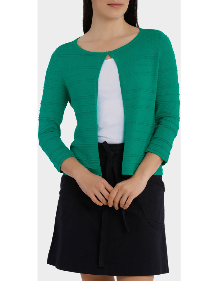 Pointelle Stripe  Sleeve Cardigan image 1