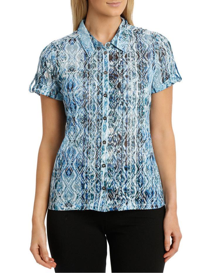 Mottled Oceanic Burnout Collar Short Sleeve Tee image 1