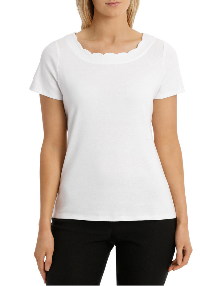 Solid Scallop Short Sleeve Tee image 1