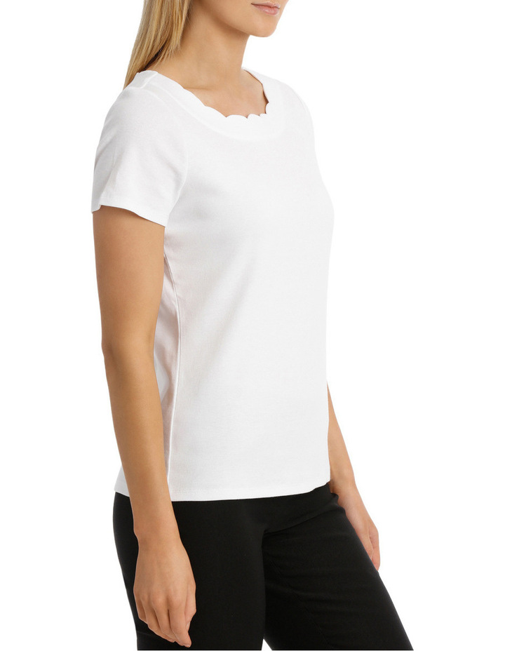Solid Scallop Short Sleeve Tee image 2