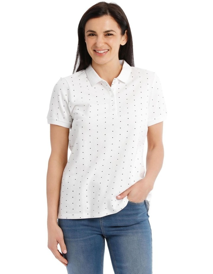 Short Sleeve Polo - White With Black Spot image 1