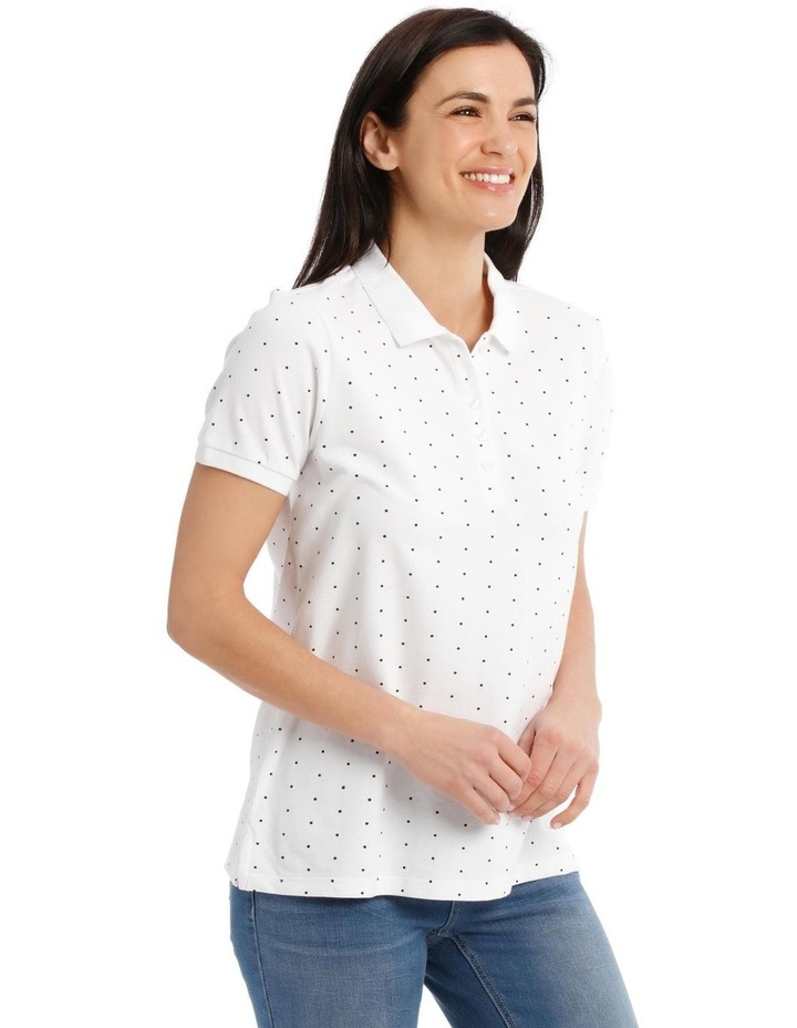 Short Sleeve Polo - White With Black Spot image 2