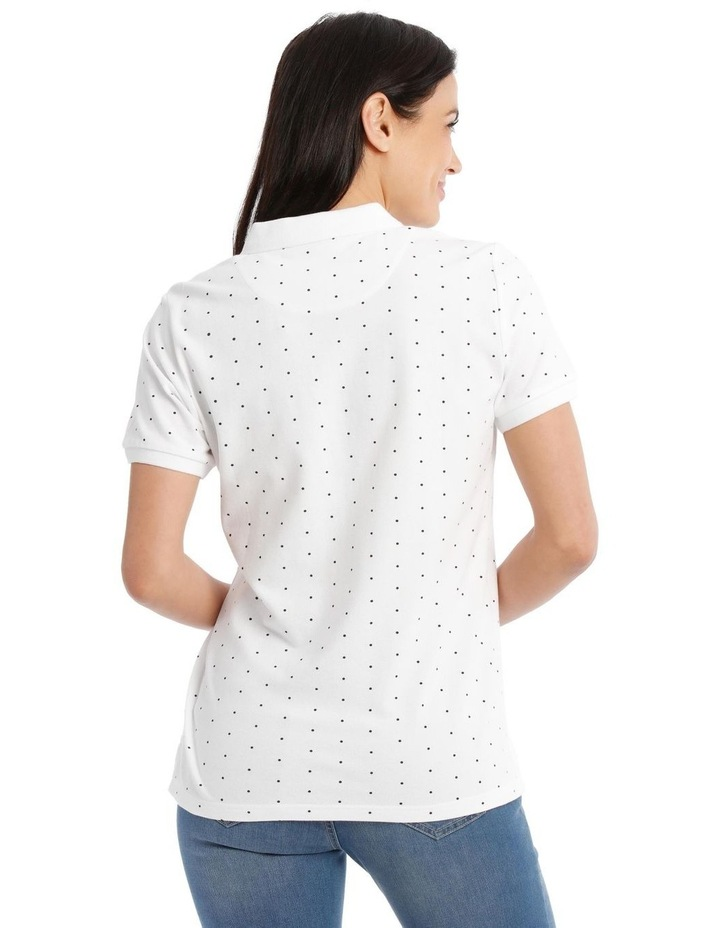 Short Sleeve Polo - White With Black Spot image 3