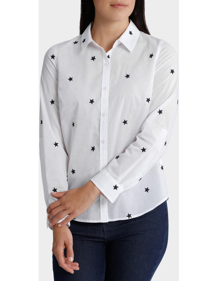 Starry Night Embellished 3/4 Sleeve Shirt image 2