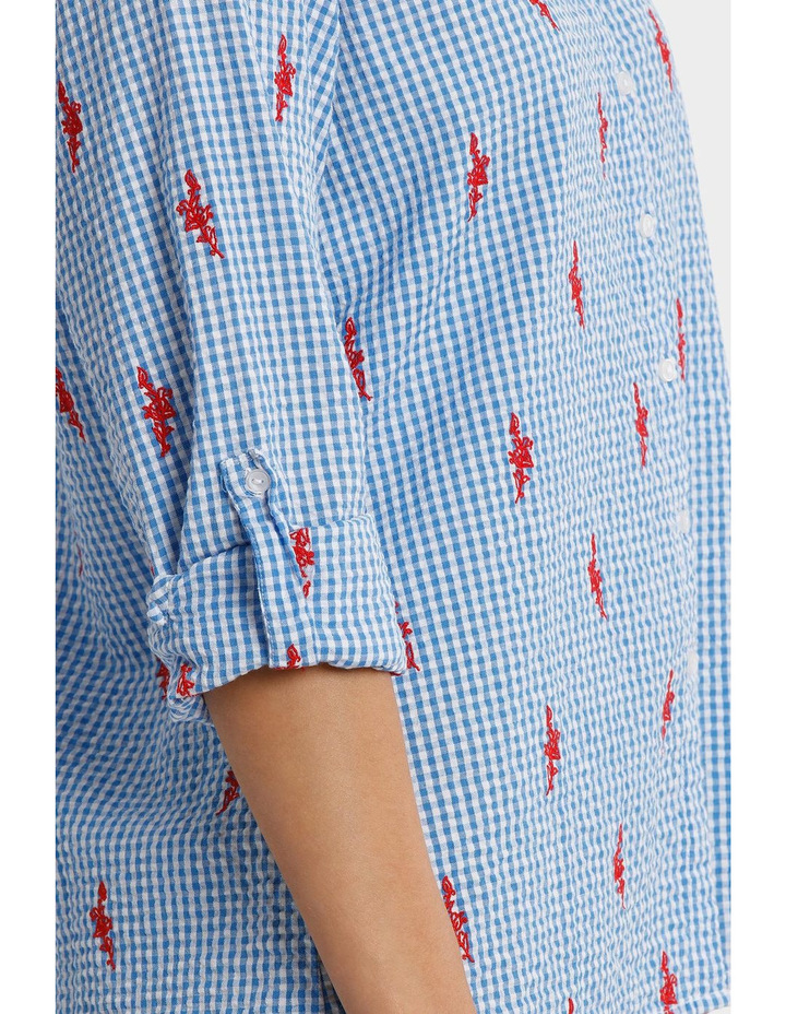 Blue Gingham Embroidered 3/4 Sleeve Crinkle Shirt image 4