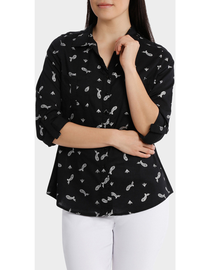Must Have Foil Cotton 3/4 Sleeve Shirt image 1