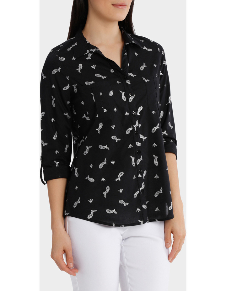Must Have Foil Cotton 3/4 Sleeve Shirt image 2