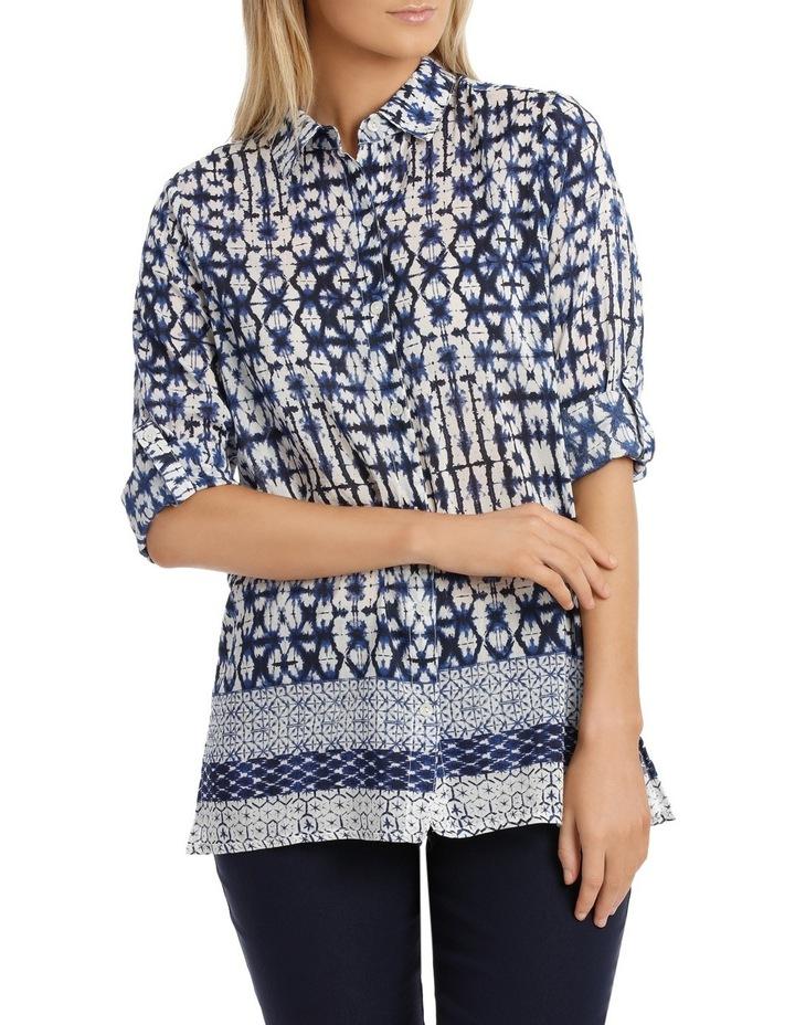 Shibori Silk Cotton 3/4 SleeveShirt image 1