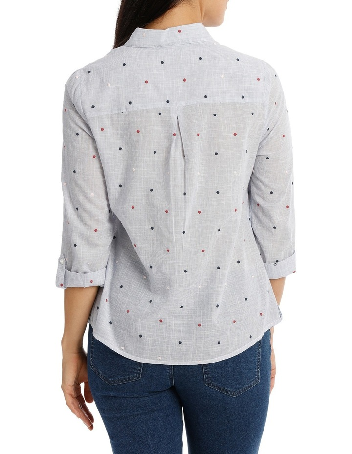 Embroidered Spot 3/4 Sleeve Shirt image 3