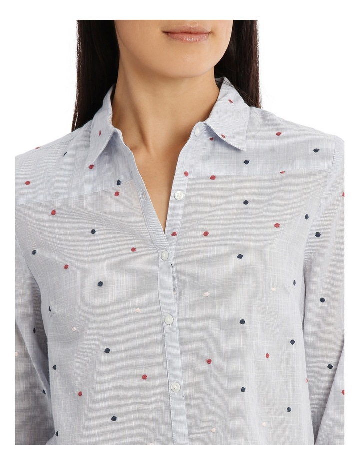 Embroidered Spot 3/4 Sleeve Shirt image 4