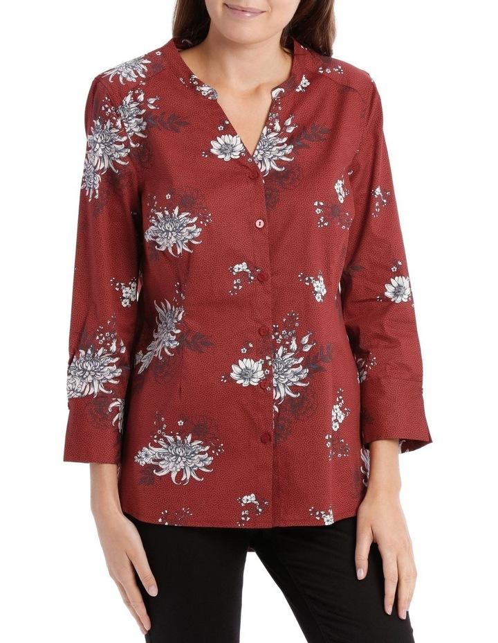 Russet Floral Mandarin Collar Shirt image 1