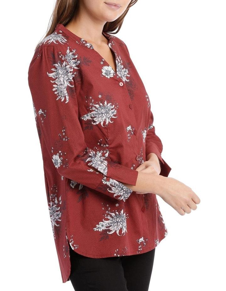 Russet Floral Mandarin Collar Shirt image 2