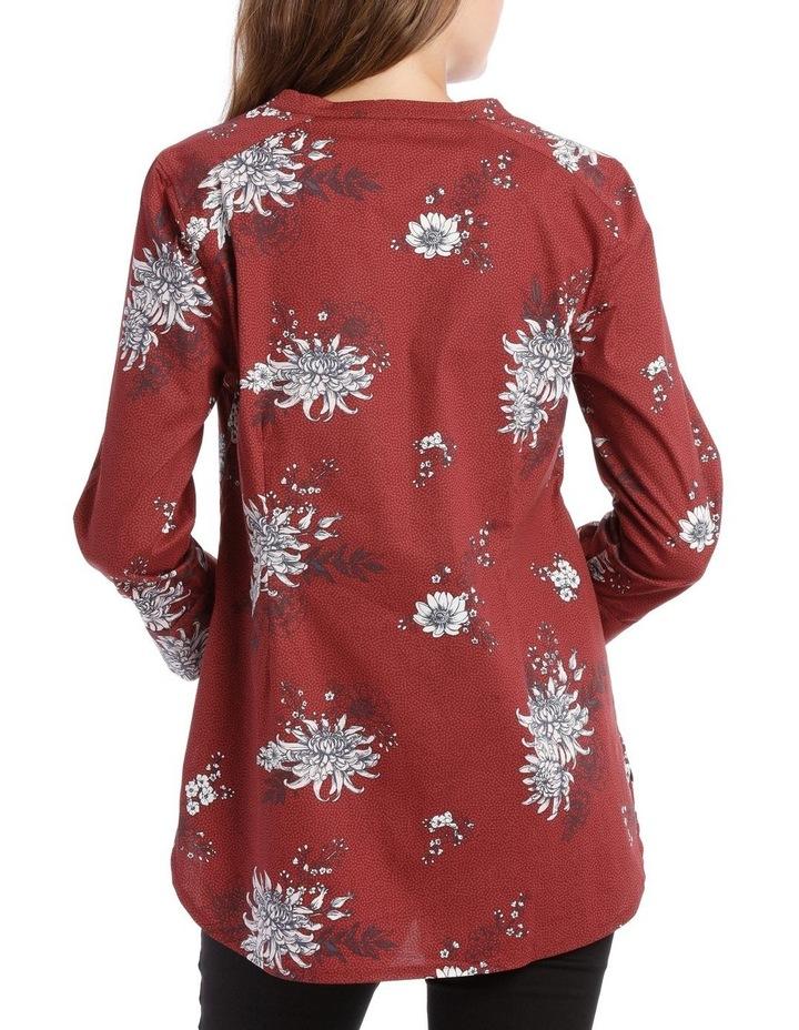 Russet Floral Mandarin Collar Shirt image 3