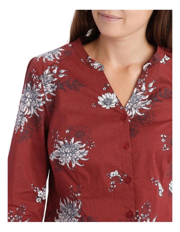Russet Floral Mandarin Collar Shirt image 4