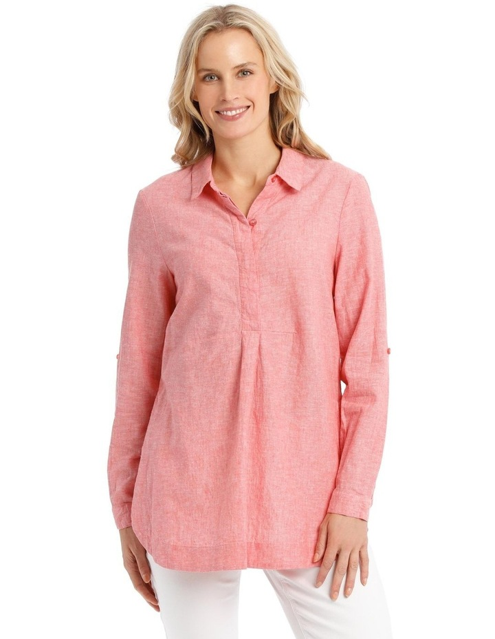 Long-Sleeve Cross-Dye Shirt with Half Placket image 1