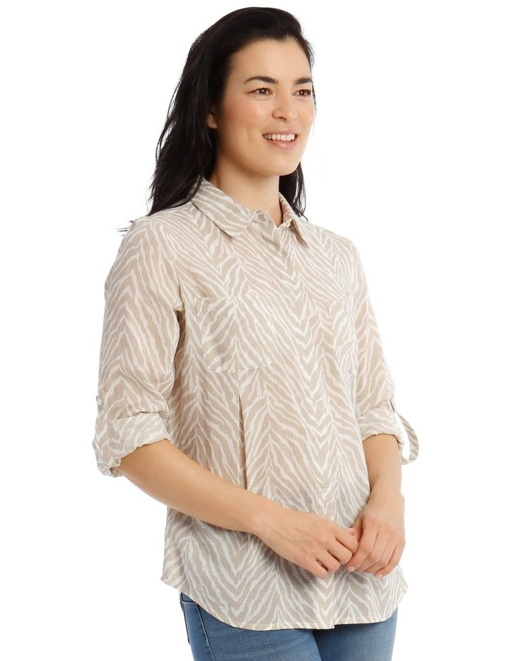 Front Tuck Long Sleeve Shirt With Rolled Sleeve image 2