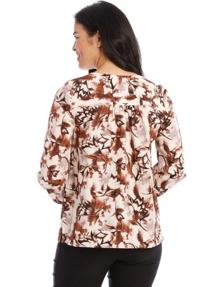 Collarless V-Neck Long Sleeve Shirt image 3