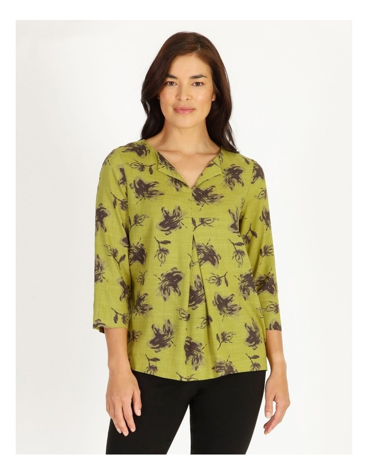 Olive Grove 3/4 Sleeve Split Neck Top With Central Dart image 1