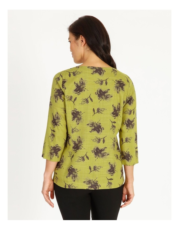 Olive Grove 3/4 Sleeve Split Neck Top With Central Dart image 3