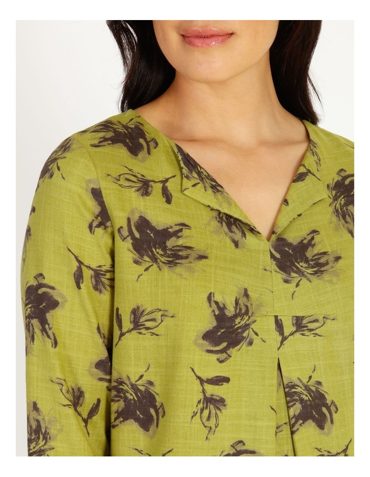 Olive Grove 3/4 Sleeve Split Neck Top With Central Dart image 4
