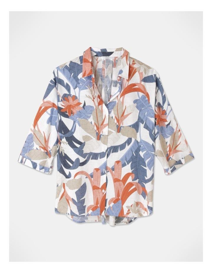 3/4 Magyar With Collar And Curved Hem Shirt Blue/Tandoori Leaf image 1