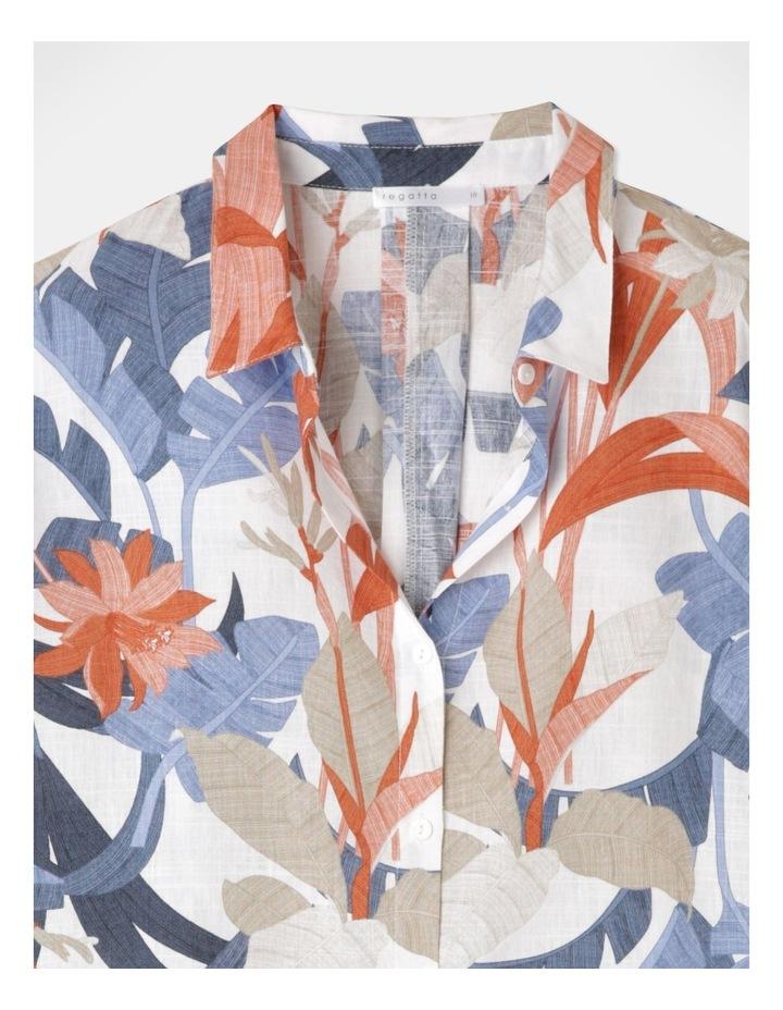 3/4 Magyar With Collar And Curved Hem Shirt Blue/Tandoori Leaf image 2