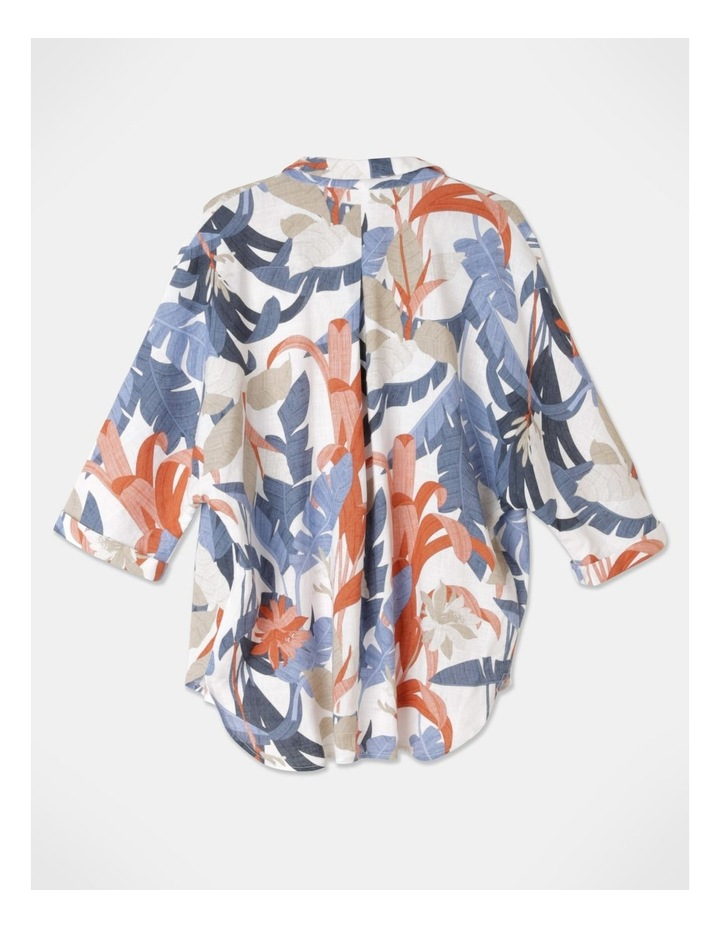 3/4 Magyar With Collar And Curved Hem Shirt Blue/Tandoori Leaf image 3