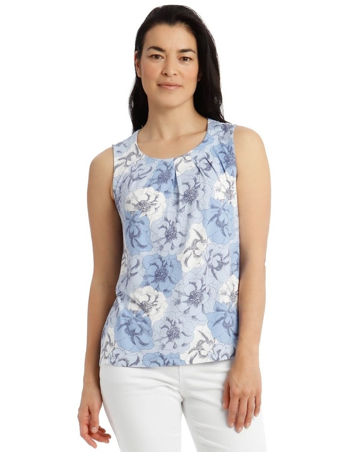 Round Neck Pleat Front Sleeveless Knit Top-Blue Floral image 1