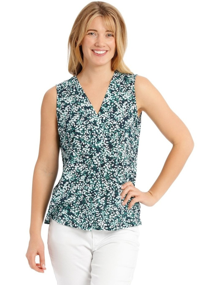 Pleat Front Sleeveless V-Neck Knit Top - Blue/Green Clover Print image 1