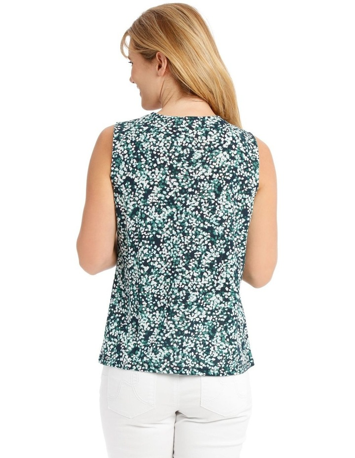 Pleat Front Sleeveless V-Neck Knit Top - Blue/Green Clover Print image 3