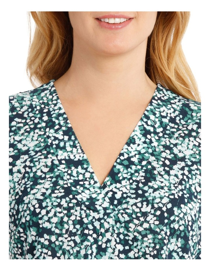 Pleat Front Sleeveless V-Neck Knit Top - Blue/Green Clover Print image 4