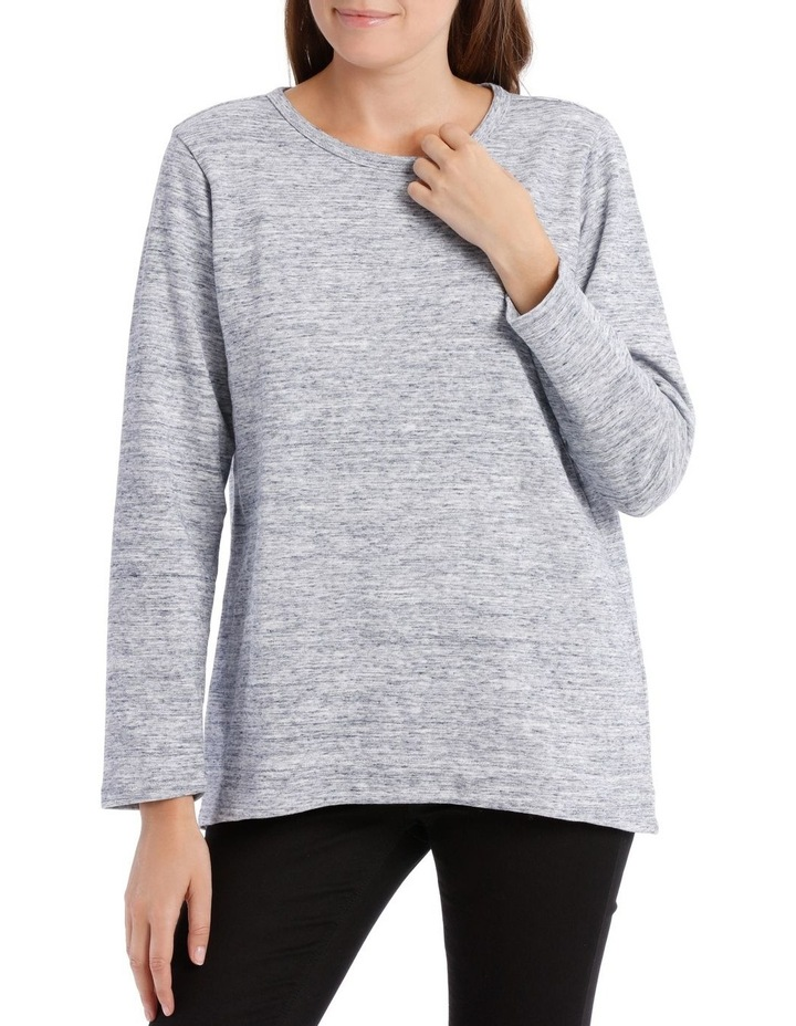 Crew Neck Long Sleeve Sweat With Straight Front Hem Hi/Lo image 1
