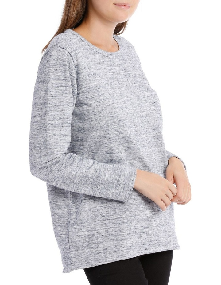 Crew Neck Long Sleeve Sweat With Straight Front Hem Hi/Lo image 2