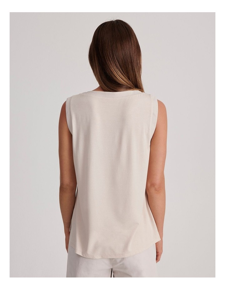 Sleeveless Woven Front with Knit Back Tank image 4