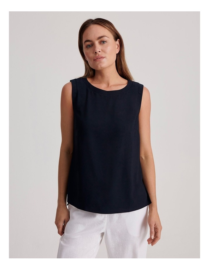 Sleeveless Woven Front with Knit Back Tank image 1
